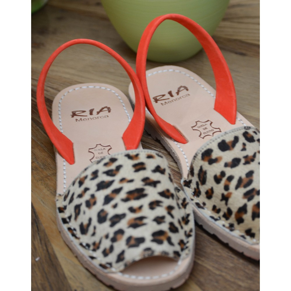 Ria Menorca Leopard Peep Toe Sandal Cappuccino