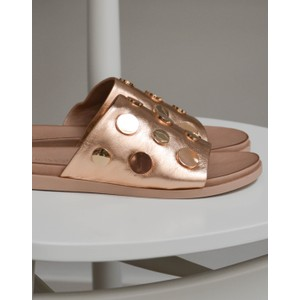 Leather Brass Stud Slides Rose Gold