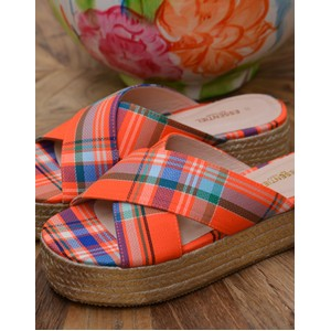 Swelter Plaid Wedge Sandal Orange