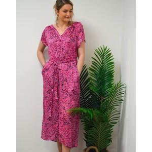 Fiona Short Sleeve Side Split Dress Pink