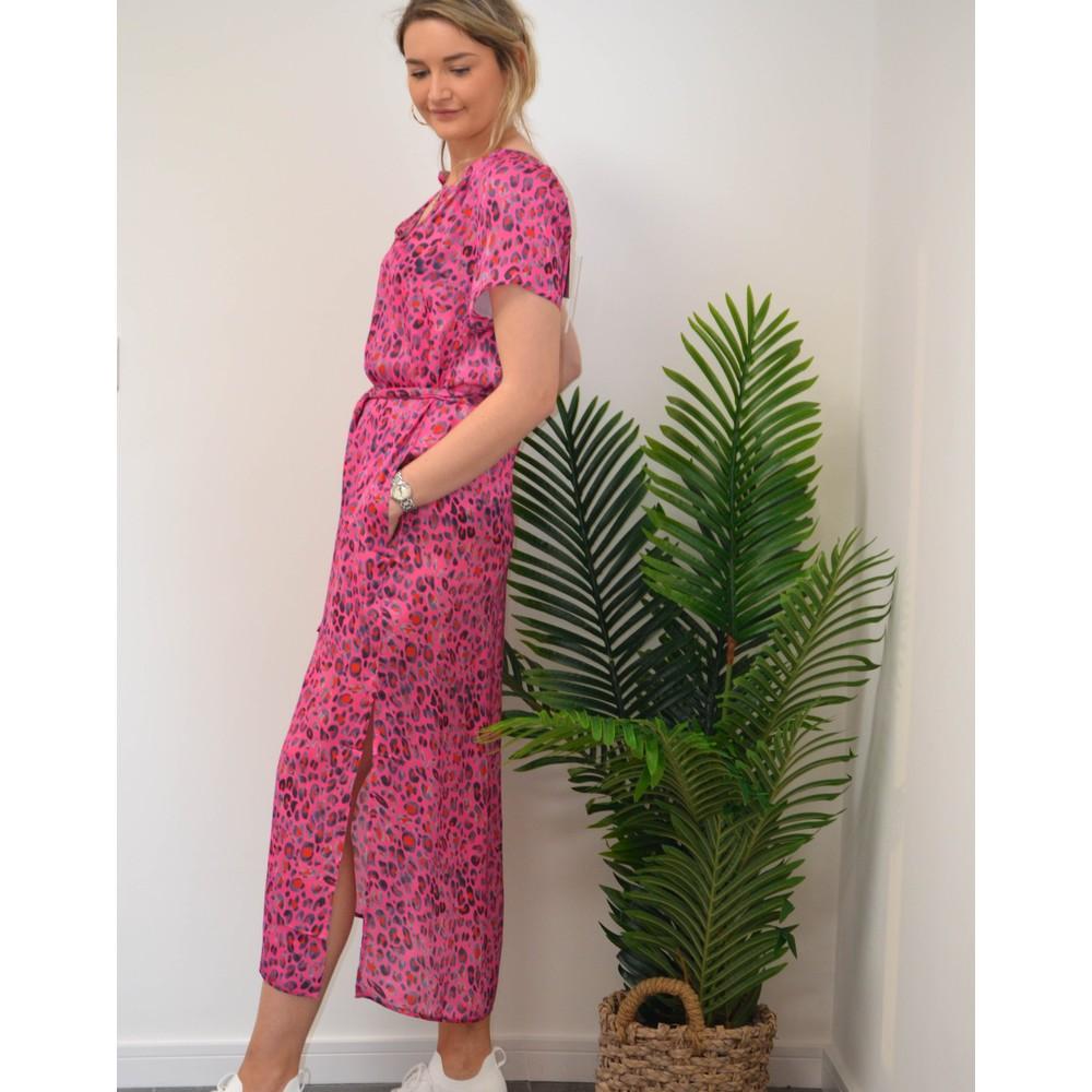 Primrose Park Fiona Short Sleeve Side Split Dress Pink