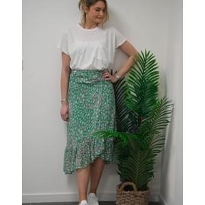 Primrose Park Simi Leo Print Wrap Skirt Green