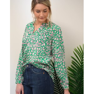Primrose Park Sandy Leo Print Long Sleeve Top Green