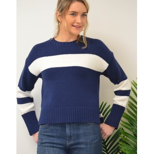 Ruby Block Stripe Jumper Pacific/White