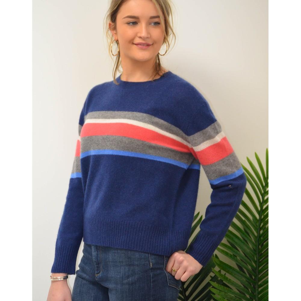 360 Sweater Christina Stripe Block Knit Navy/Multi
