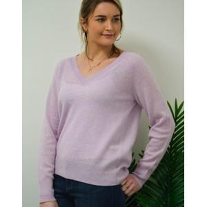Nevaeh V Neck Fine Knit Jumper Lavender