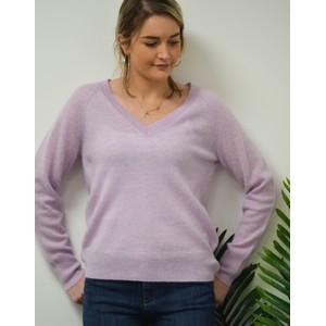 360 Sweater Nevaeh V Neck Fine Knit Jumper Lavender