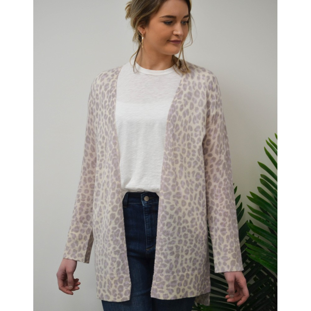 360 Sweater Sophie Leopard Cardi Purple Haze/Chalk