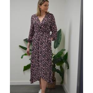 Custommade Leslie Wrap Floral Dress Anthracite Black
