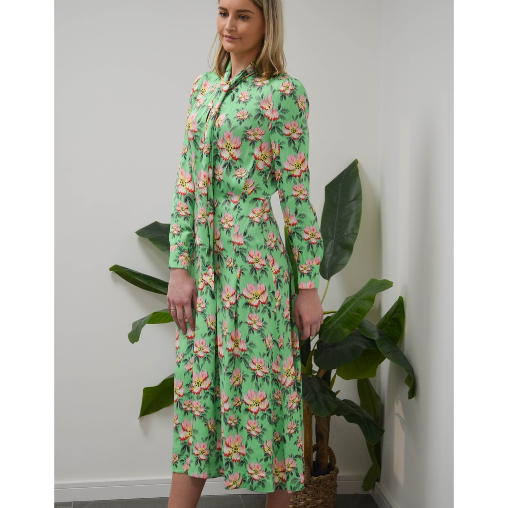 Custommade Rebecca Long Sleeve Floral Dress Irish Green