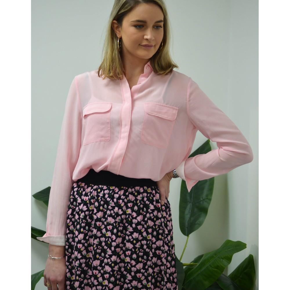 Custommade Athalie Silk Long Sleeve Shirt Candy Pink