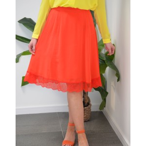 Ani Lace Trim Skirt Flame Scarlet