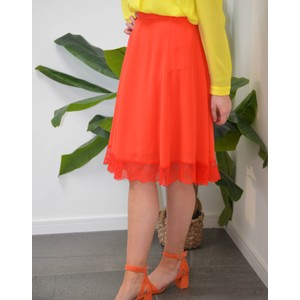 Custommade Ani Lace Trim Skirt Flame Scarlet
