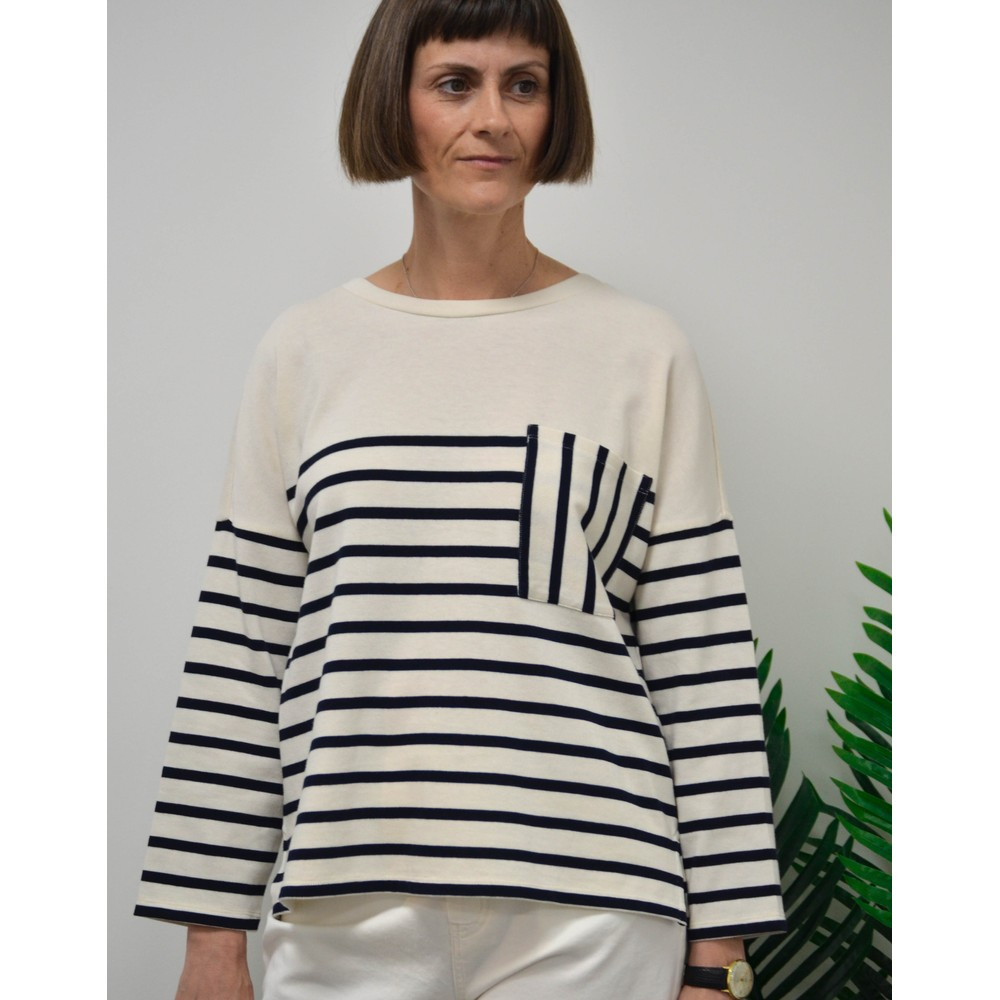 Weekend Maxmara Recital Breton Sweater Off White/Navy