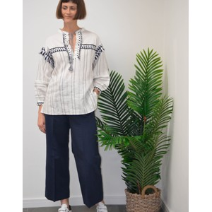 Baia Emb Stripe Blouse White/Navy