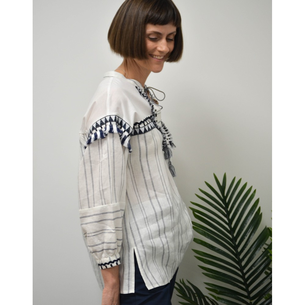 Weekend Maxmara Baia Emb Stripe Blouse White/Navy
