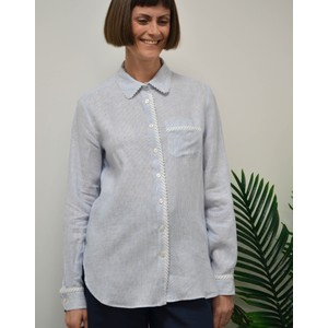 Apotema Bead Trim Shirt White/Navy