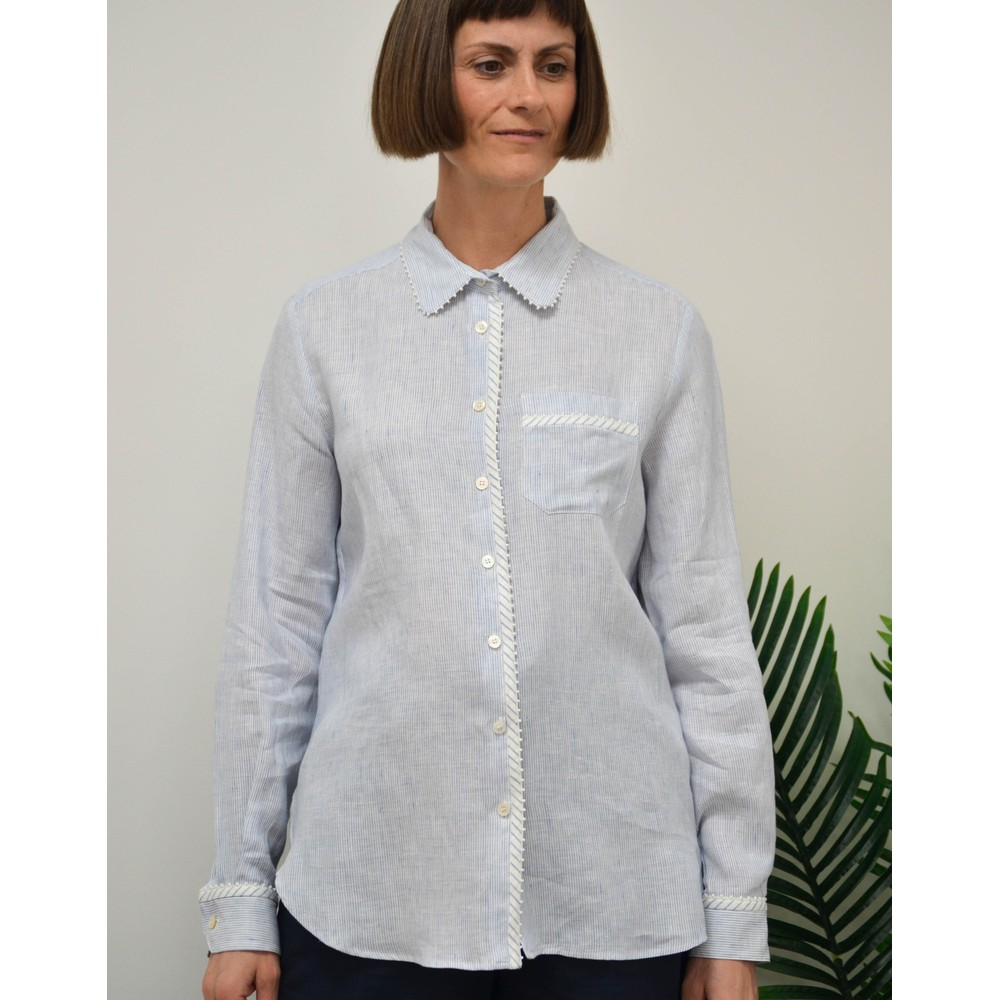 Weekend Maxmara Apotema Bead Trim Shirt White/Navy
