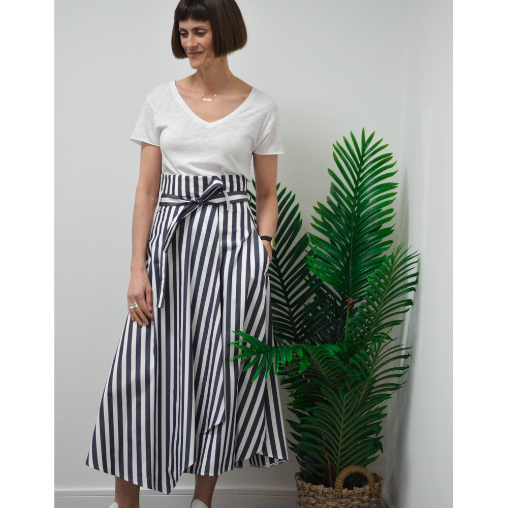 Weekend Maxmara Biella Cotton Poplin Striped Skirt Ultramarine