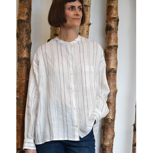 Vicino Fine Stripe Blouse White/Bordeaux