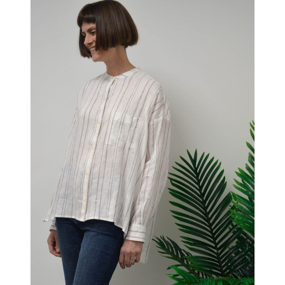 Weekend Maxmara Vicino Fine Stripe Blouse White/Bordeaux