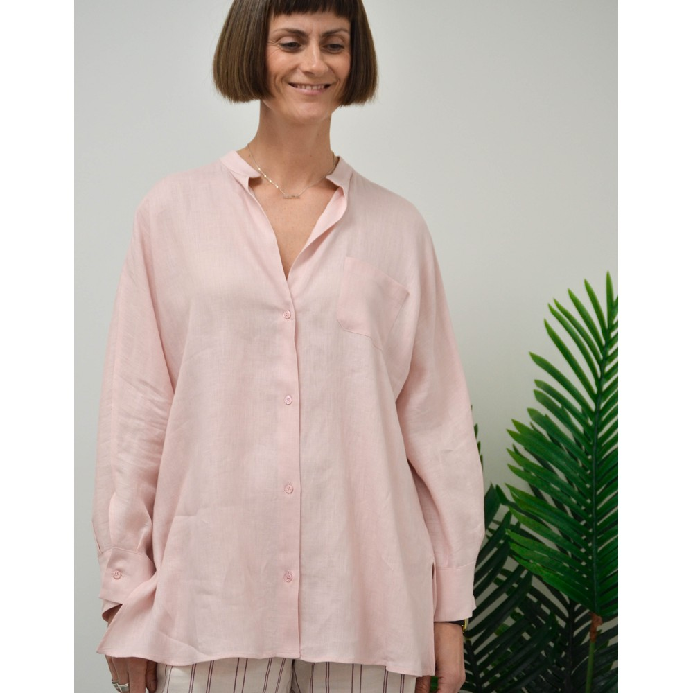 Weekend Maxmara Ramino Linen Blouse Pale Pink