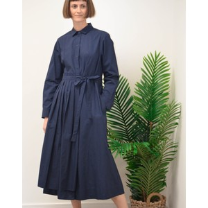 Flou Long Sleeve Pleat Dress Navy