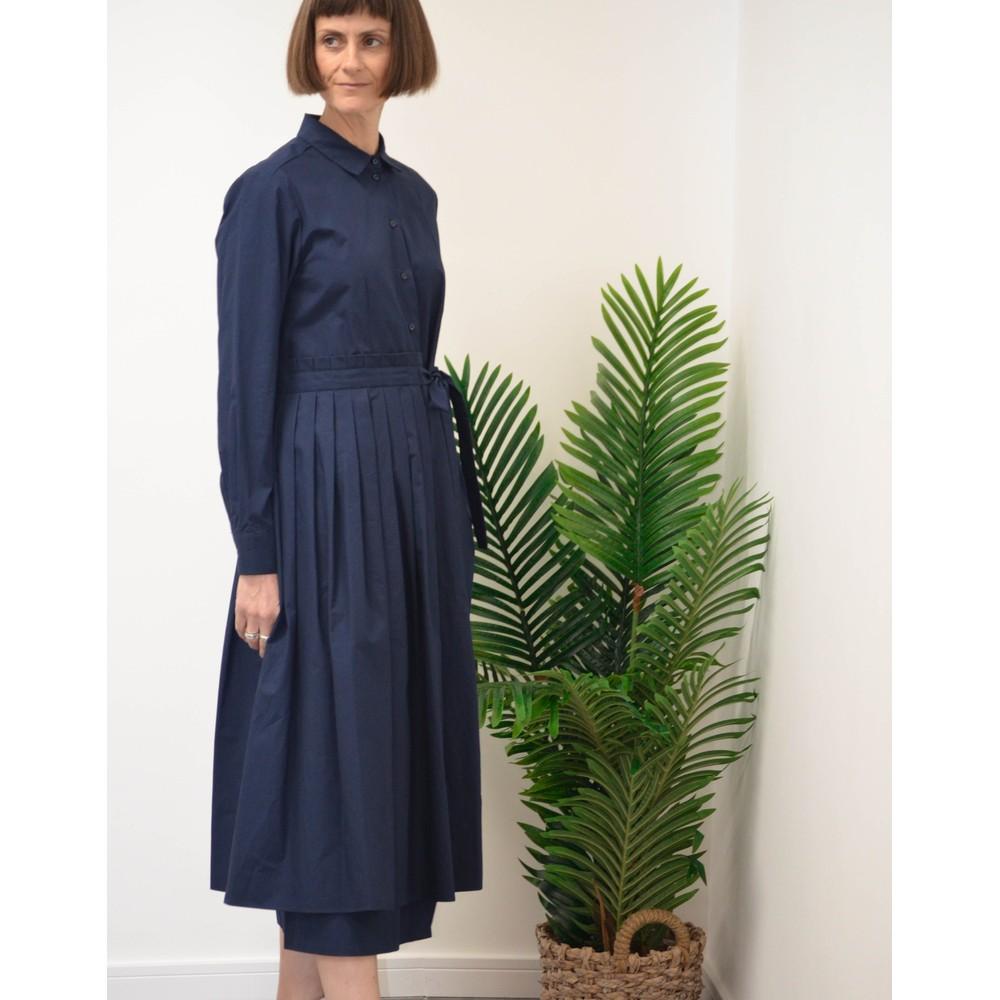 Weekend Maxmara Flou Long Sleeve Pleat Dress Navy