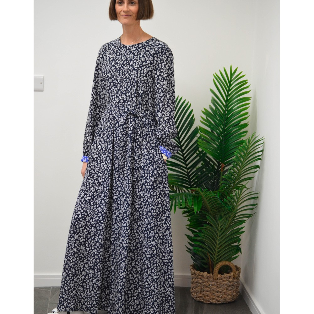 Weekend Maxmara Tasso Long Floral Dress Navy/White