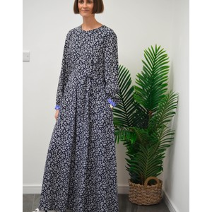 Tasso Long Floral Dress Navy/White