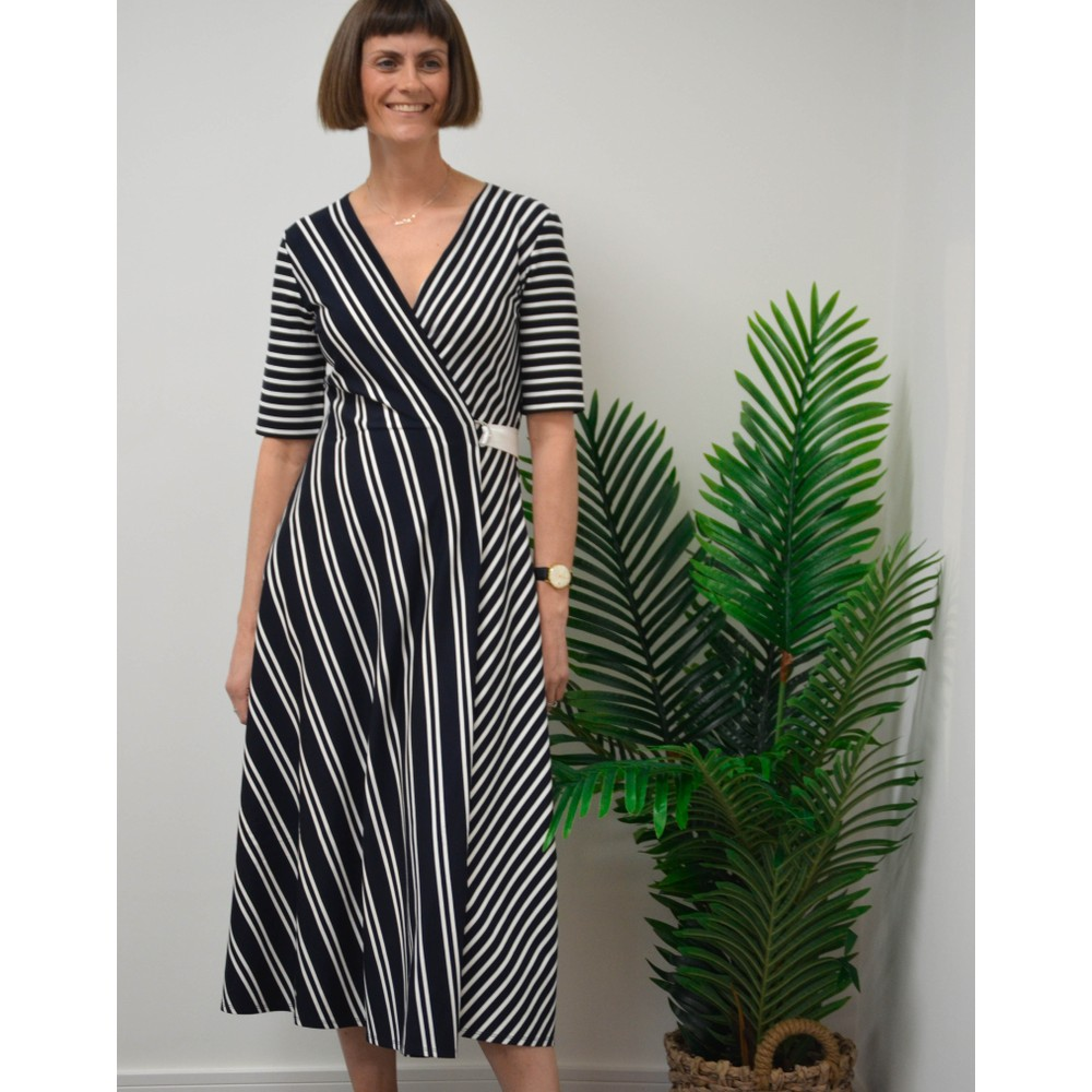 Weekend Maxmara Ada Wrap Stripe Dress Navy/White