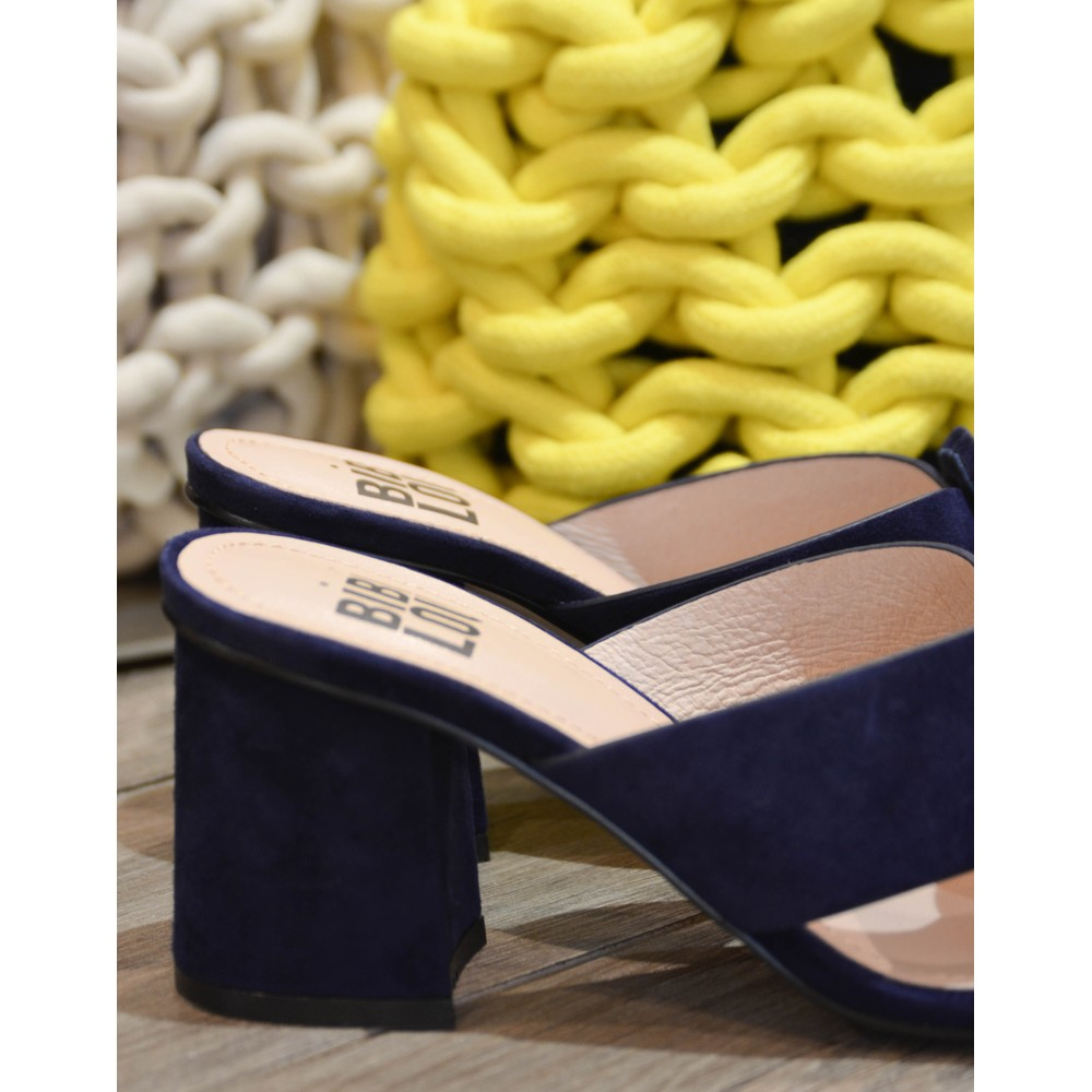Bibi Lou Cross-Over Slip On Suede Shoe Navy Blue