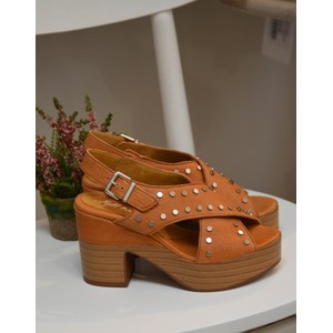 Stud Platform Cross-Over Sandal Tan