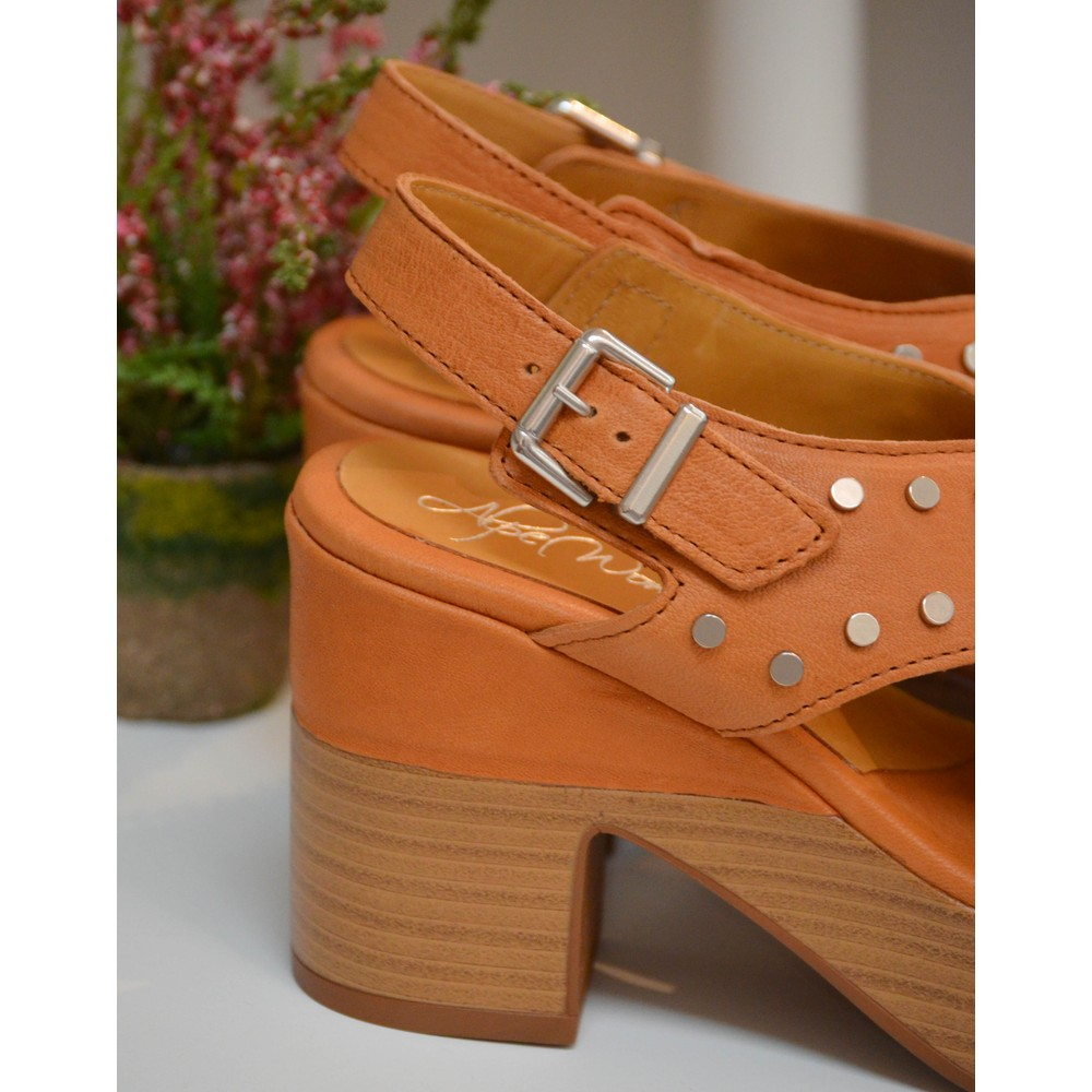 Alpe Stud Platform Cross-Over Sandal Tan