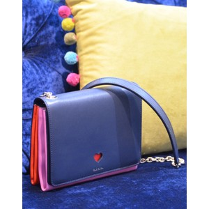 Heart Cutout Cross Body Bag Navy/Pink