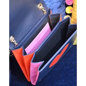 Paul Smith Accessories Heart Cutout Cross Body Bag Navy/Pink