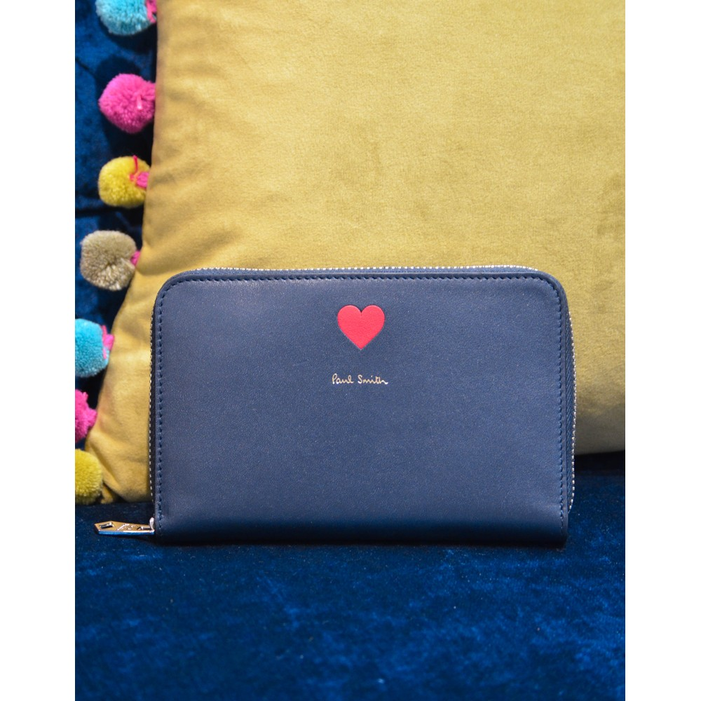 Paul Smith Accessories Heart Med Zip Round Purse Navy