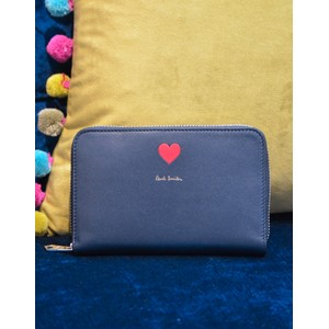 Heart Med Zip Round Purse Navy