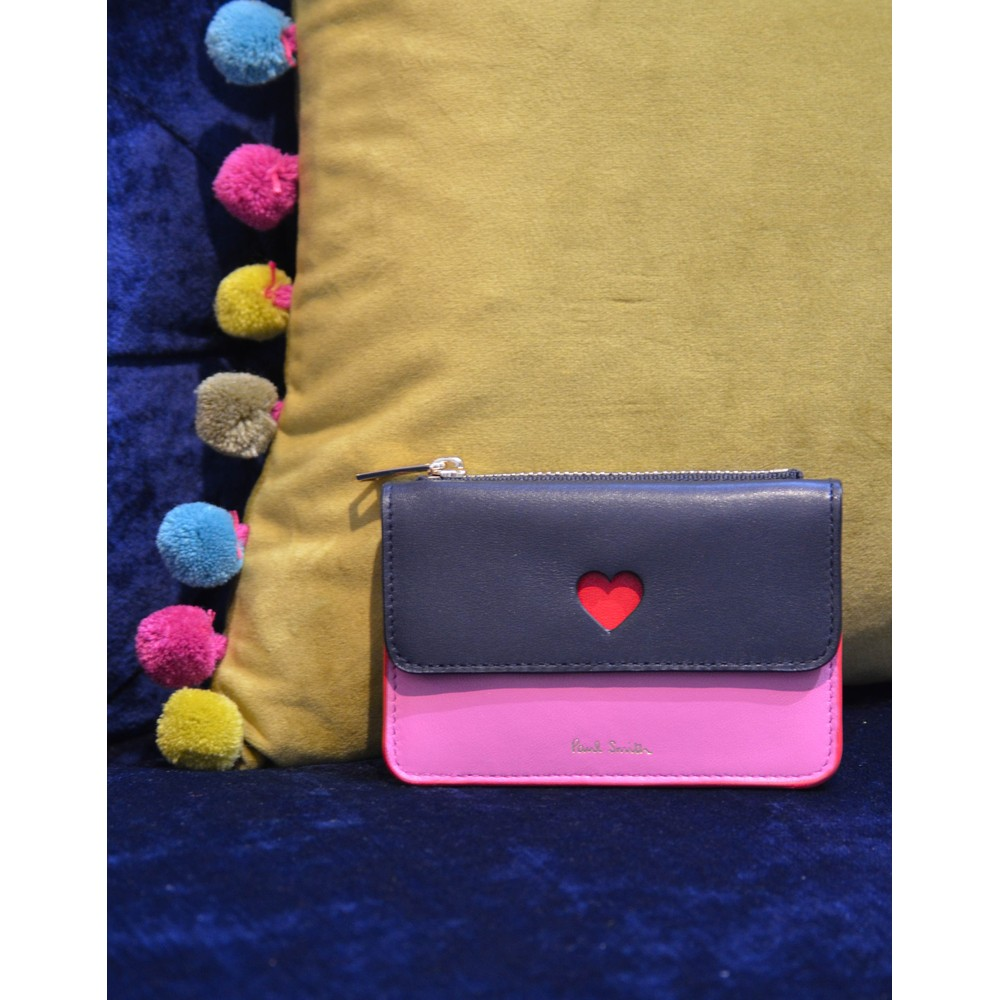 Paul Smith Accessories Cutout Heart Zip Pouch Purse Navy/Pink