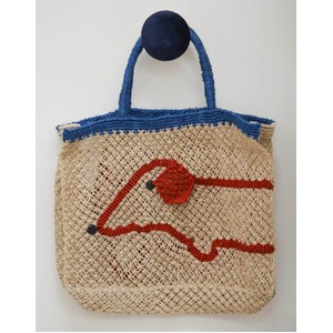 Sausage Jute Bag Natural/Blue/Red
