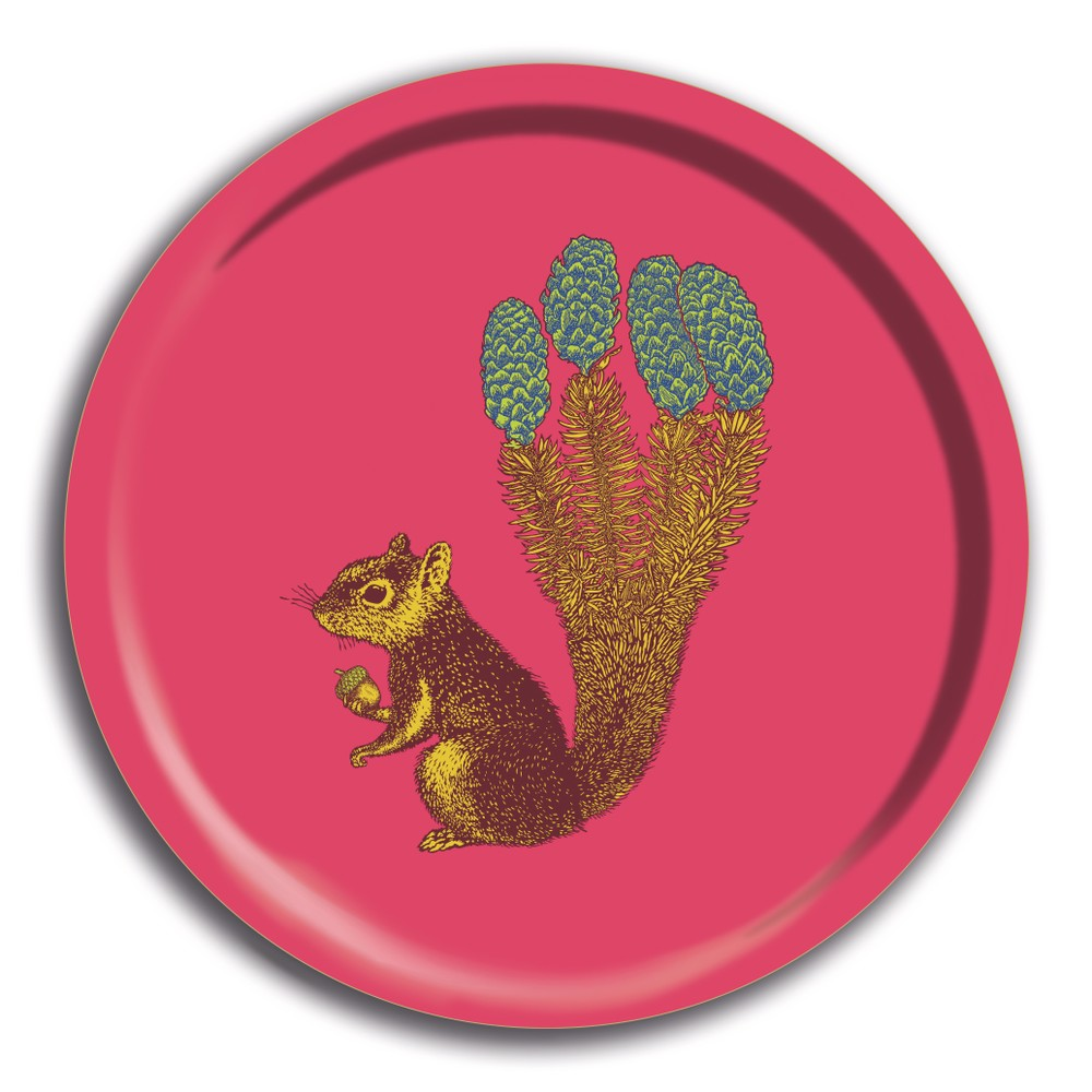 Avenida Home Squirrel Round Tray Pink