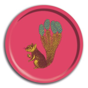 Squirrel Round Tray Pink