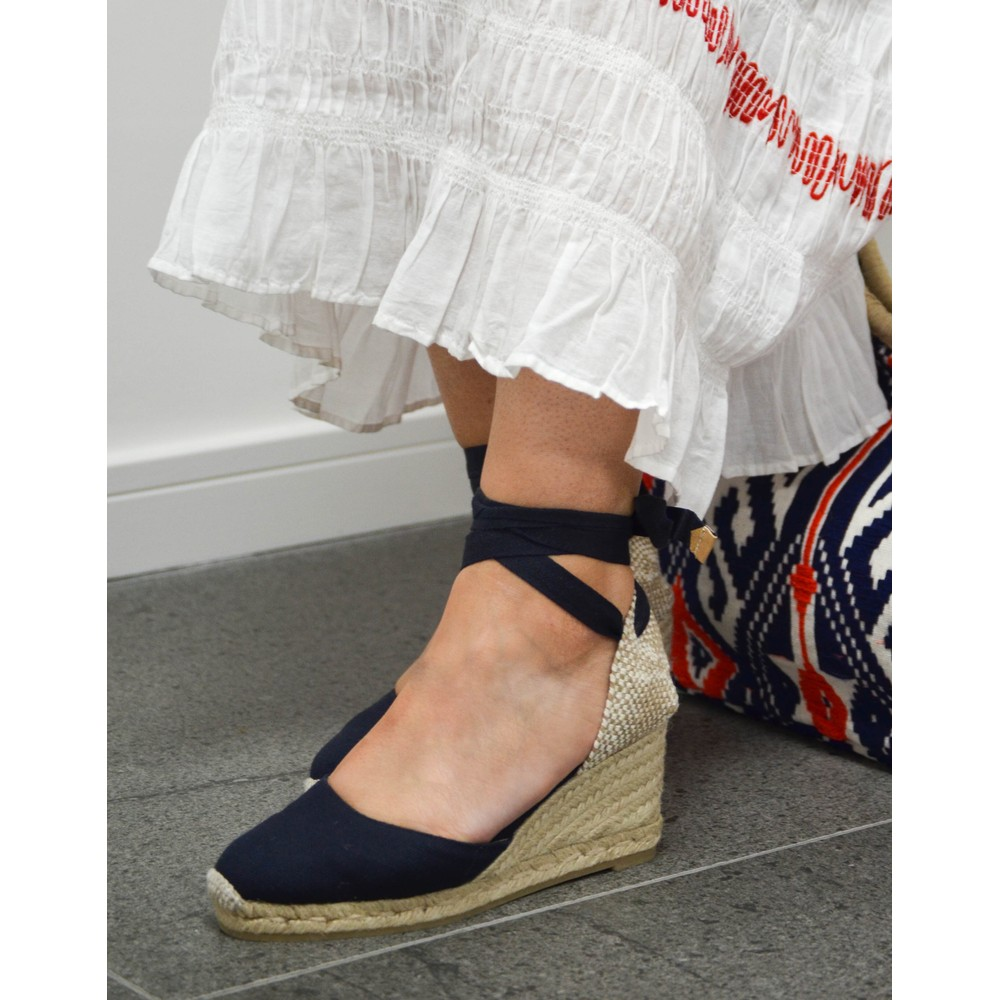 Castañer Carina Wedge Navy Blue