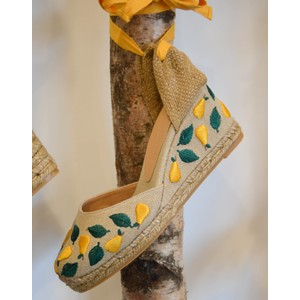 Carina Embroidered Pear Wedge Natural/Yellow