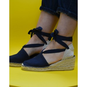 Valencia Ankle Tie Wedge Navy