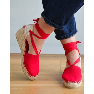 Valencia Ankle Tie Wedge Red