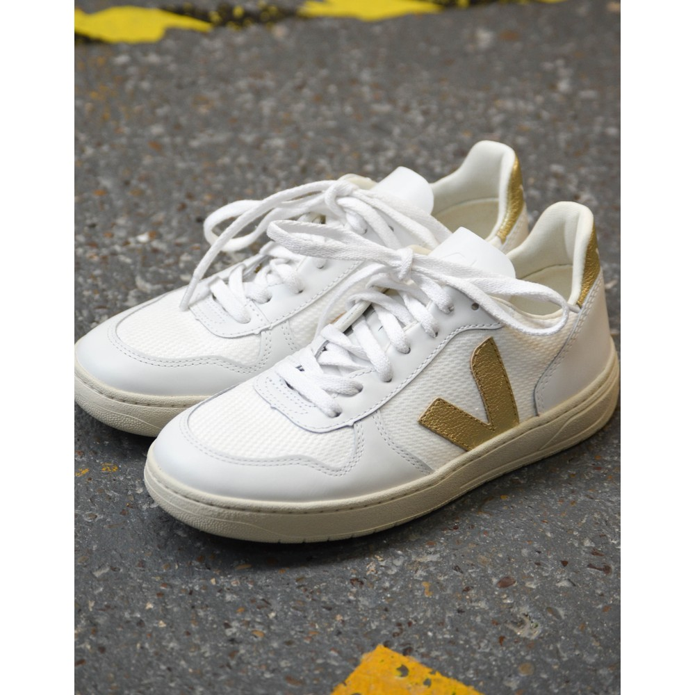Veja V-10 Mesh Gold Trainer White/Gold