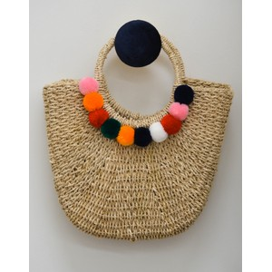 Martha Pom Pom Basket Natural/Multi