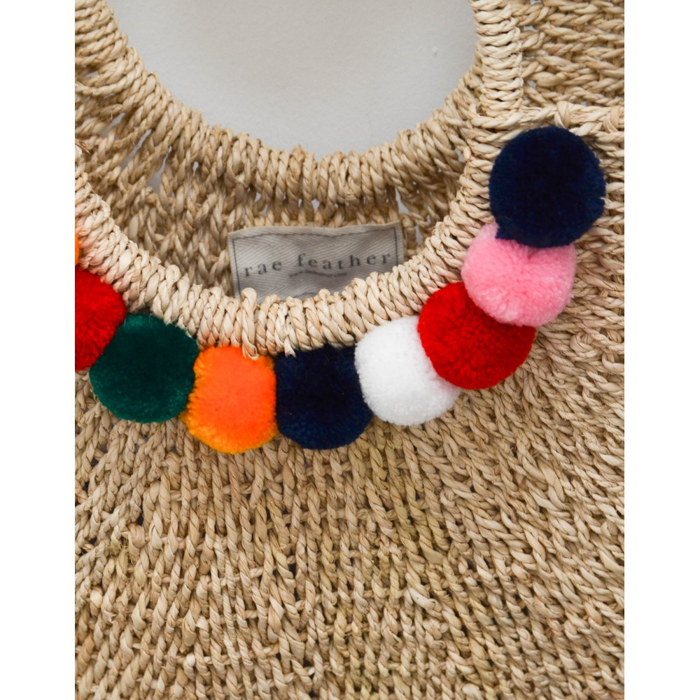 Rae Feather  Martha Pom Pom Basket Natural/Multi