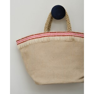 Straw Fringe Shopper Basket Pink/Red